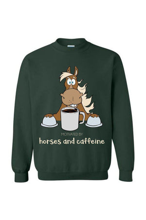 Horses and Caffeine - Long Sleeve-Long Sleeve-Teescape-Sweatshirt-Forest Green-S-Three Wild Horses