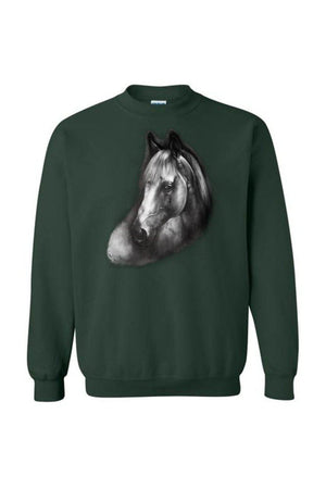 Horse Portrait - Long Sleeve-Long Sleeve-Teescape-SWEATSHIRT-Forest Green-S-Three Wild Horses