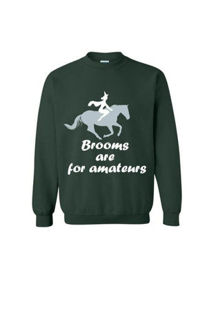 Brooms Are For Amateurs - Long Sleeve-Long Sleeve-Teescape-Sweatshirt-Forest Green-S-Three Wild Horses
