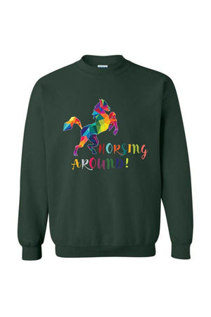 Horsing Around - Long Sleeve-Long Sleeve-Teescape-SWEATSHIRT-Forest Green-S-Three Wild Horses