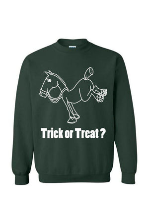 Trick Or Treat? - Long Sleeve-Long Sleeve-Teescape-Sweatshirt-Forest Green-S-Three Wild Horses