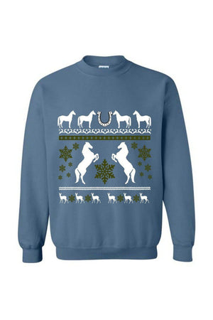Ugly Christmas Sweater - Long Sleeve-Long Sleeve-Teescape-Sweatshirt-Indigo Blue-S-Three Wild Horses