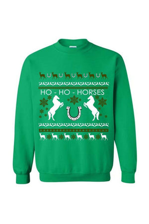 Ugly Christmas Sweater - Long Sleeve-Long Sleeve-Teescape-Sweatshirt-Irish Green-S-Three Wild Horses