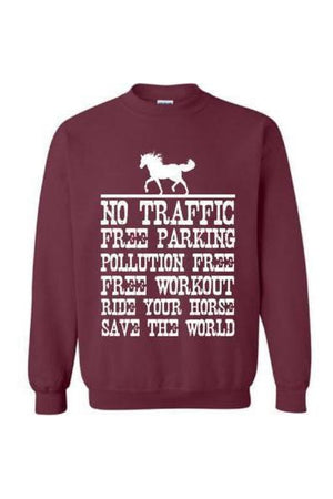 Ride Your Horse, Save the World - Long Sleeve-Long Sleeve-Teescape-Sweatshirt-Maroon-S-Three Wild Horses