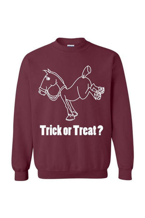 Trick Or Treat? - Long Sleeve-Long Sleeve-Teescape-Sweatshirt-Maroon-S-Three Wild Horses