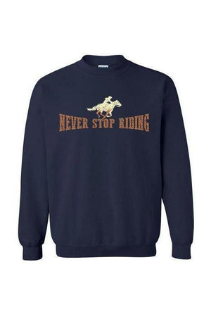 Never Stop Riding - Long Sleeve-Long Sleeve-Teescape-SWEATSHIRT-Navy-S-Three Wild Horses