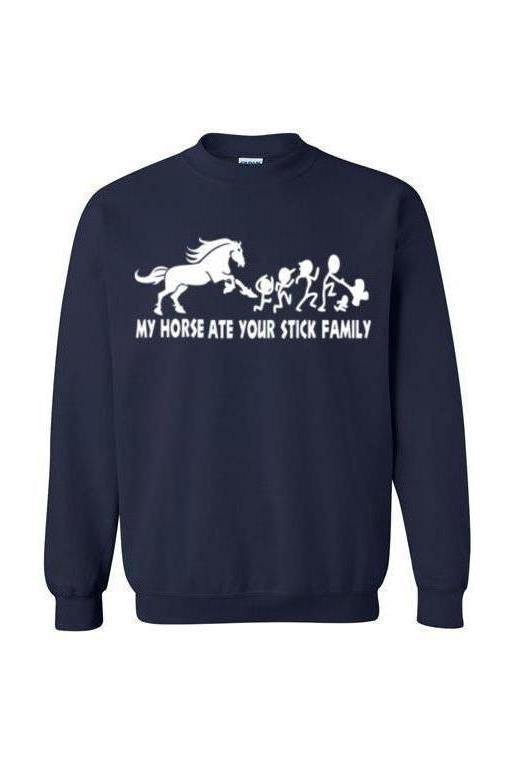 My Horse Ate Your Stick Family - Long Sleeve-Long Sleeve-Teescape-SWEATSHIRT-Navy-S-Three Wild Horses