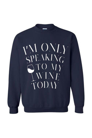 Only Speaking to My Wine-Long Sleeve In Black-Long Sleeve-Teescape-Navy-S-Three Wild Horses