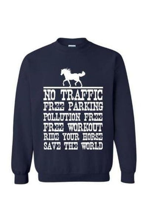 Ride Your Horse, Save the World - Long Sleeve-Long Sleeve-Teescape-Sweatshirt-Navy-S-Three Wild Horses