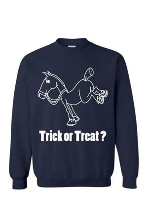 Trick Or Treat? - Long Sleeve-Long Sleeve-Teescape-Sweatshirt-Navy-S-Three Wild Horses