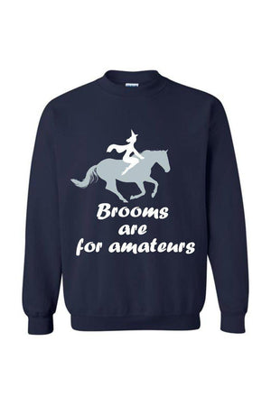 Brooms Are For Amateurs - Long Sleeve-Long Sleeve-Teescape-Sweatshirt-Navy-S-Three Wild Horses