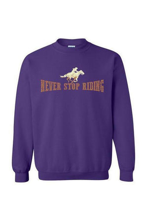 Never Stop Riding - Long Sleeve-Long Sleeve-Teescape-SWEATSHIRT-Purple-S-Three Wild Horses