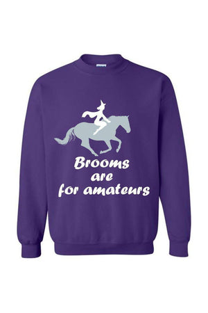 Brooms Are For Amateurs - Long Sleeve-Long Sleeve-Teescape-Sweatshirt-Purple-S-Three Wild Horses