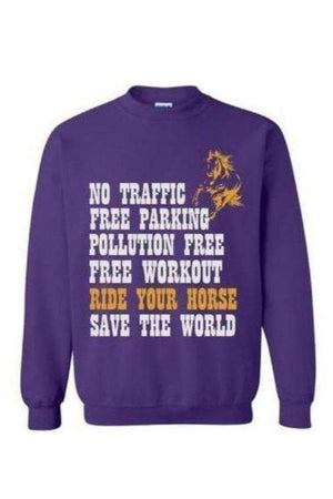 Ride Your Horse, Save the World - Long Sleeve-Long Sleeve-Teescape-Sweatshirt-Purple-S-Three Wild Horses