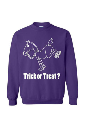 Trick Or Treat? - Long Sleeve-Long Sleeve-Teescape-Sweatshirt-Purple-S-Three Wild Horses