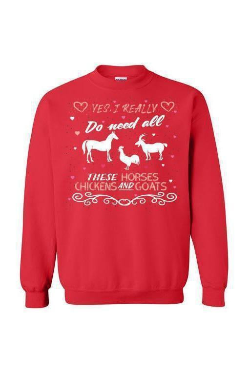 Yes, I really do need all these horses, chickens and goats - Long Sleeve-Long Sleeve-Teescape-SWEATSHIRT-Red-S-Three Wild Horses