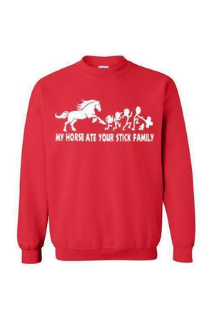 My Horse Ate Your Stick Family - Long Sleeve-Long Sleeve-Teescape-SWEATSHIRT-Red-S-Three Wild Horses