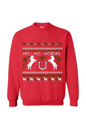 Ugly Christmas Sweater - Long Sleeve-Long Sleeve-Teescape-Sweatshirt-Red-S-Three Wild Horses