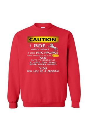 Caution! I Ride Horses - Long Sleeve-Long Sleeve-Teescape-SWEATSHIRT-Red-S-Three Wild Horses