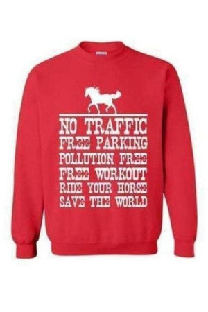 Ride Your Horse, Save the World - Long Sleeve-Long Sleeve-Teescape-Sweatshirt-Red-S-Three Wild Horses