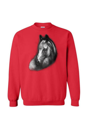 Horse Portrait - Long Sleeve-Long Sleeve-Teescape-SWEATSHIRT-Red-S-Three Wild Horses