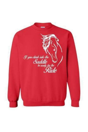 Horse Riding - Long Sleeve-Long Sleeve-Teescape-Sweatshirt-Red-S-Three Wild Horses