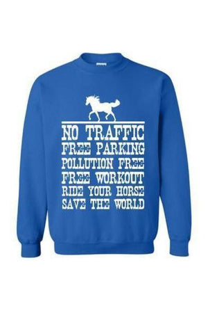Ride Your Horse, Save the World - Long Sleeve-Long Sleeve-Teescape-Sweatshirt-Royal Blue-S-Three Wild Horses