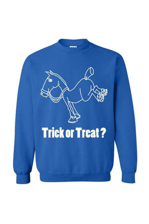Trick Or Treat? - Long Sleeve-Long Sleeve-Teescape-Sweatshirt-Royal Blue-S-Three Wild Horses
