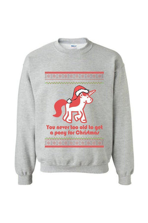 Ugly Christmas Sweater - Long Sleeve-Long Sleeve-Teescape-Sweatshirt-Sports Grey-S-Three Wild Horses