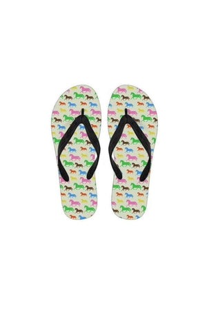 Horse Pattern Women's Flip Flops-Flip flop-Pillow Profits-Black-Small (US 5-6 /EU 35-37)-Three Wild Horses