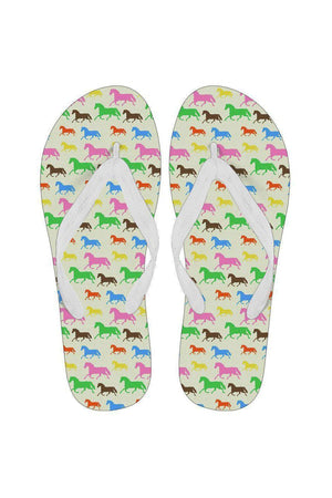Horse Pattern Women's Flip Flops-Flip flop-Pillow Profits-White-Small (US 5-6 /EU 35-37)-Three Wild Horses