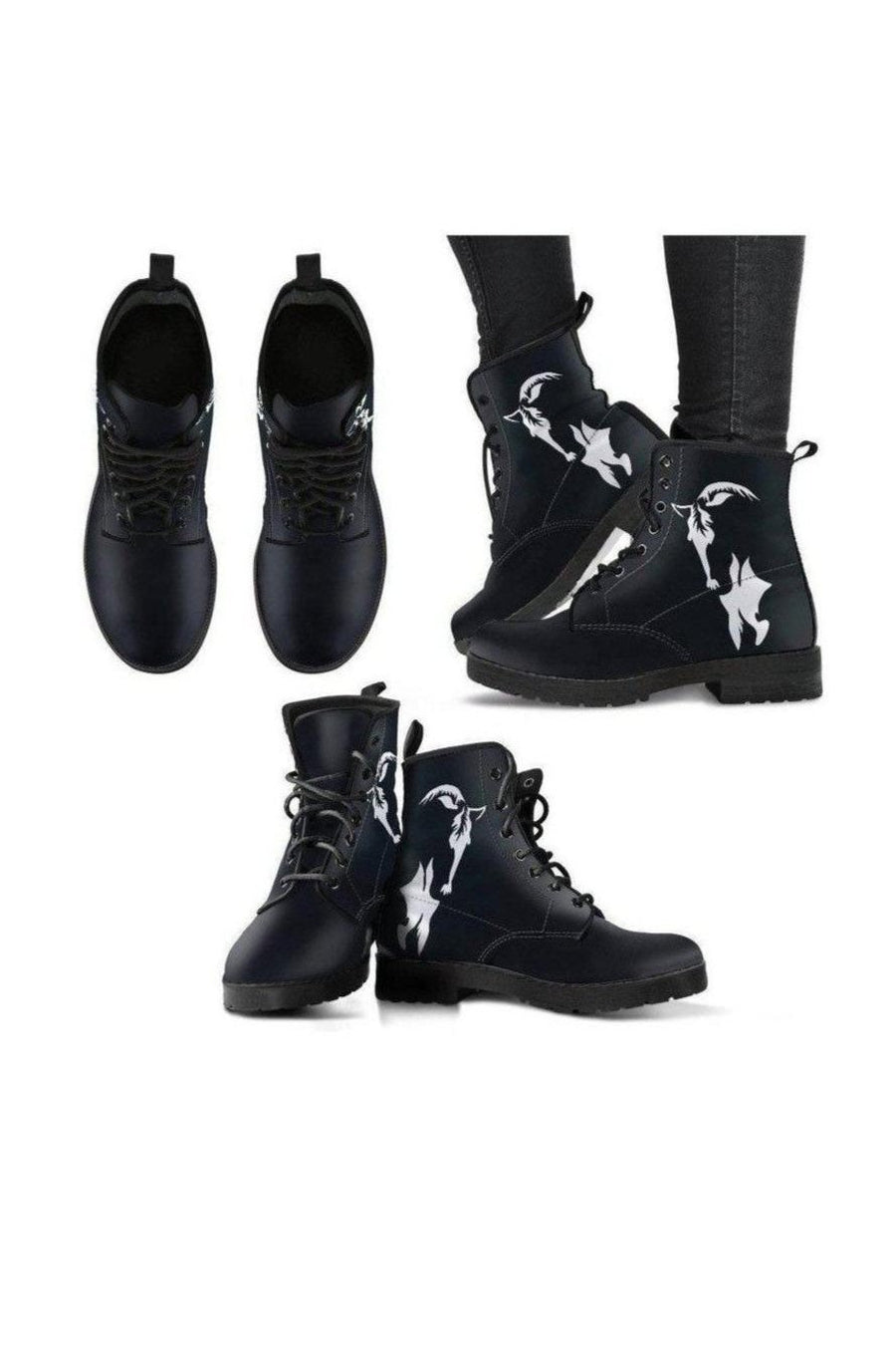 Black Horse PU Leather Boots