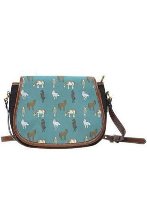 Horse themed Canvas/PU Leather Saddle Bag Handbag-Saddle Bag-Pillow Profits-10-Three Wild Horses