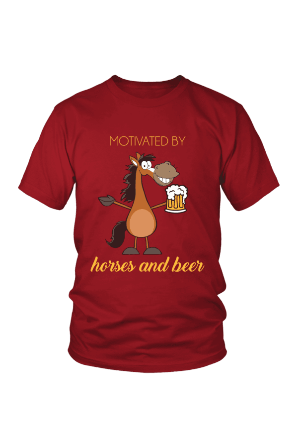 Horses and Beer - Tops-Tops-teelaunch-Unisex Tee-Red-S-Three Wild Horses