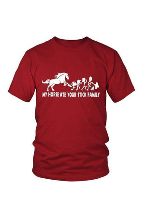 My Horse Ate Your Stick Family - Tops-Tops-teelaunch-Unisex Tee-Red-S-Three Wild Horses