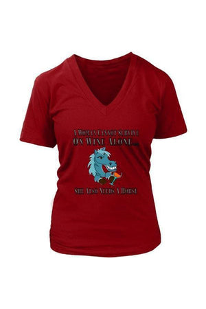 She Also Needs a Horse - Tops-Tops-teelaunch-Womens V-Neck-Red-S-Three Wild Horses