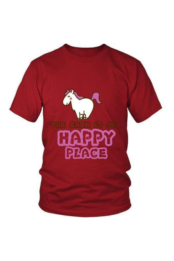 The Barn Is My Happy Place - Tops-Tops-teelaunch-Unisex Tee-Red-S-Three Wild Horses