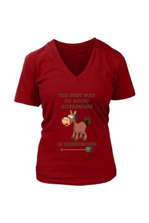 The Best Way To Avoid Housework - Tops-Tops-teelaunch-Womens V-Neck-Red-S-Three Wild Horses