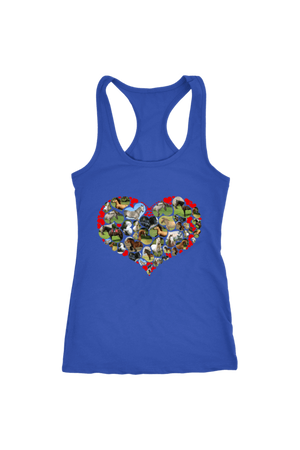 Heart Shape Horses - Tops-Tops-teelaunch-Racerback Tank-Royal Blue-S-Three Wild Horses