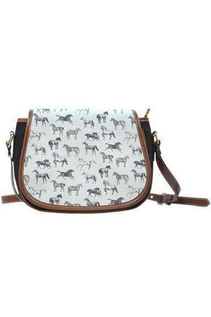 Horse themed Canvas/PU Leather Saddle Bag Handbag-Saddle Bag-Pillow Profits-11-Three Wild Horses