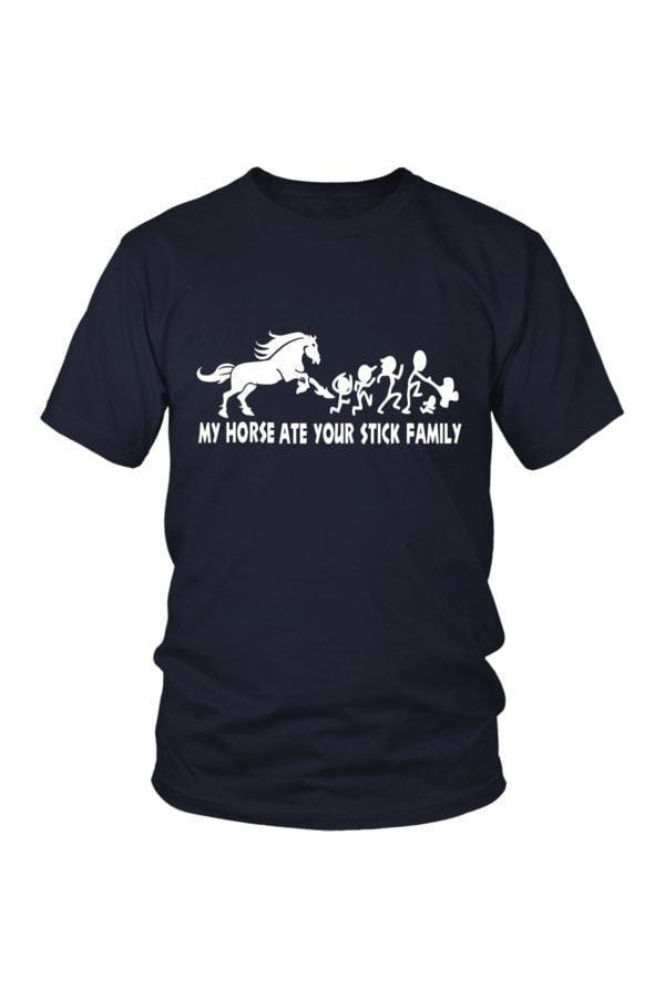 My Horse Ate Your Stick Family - Tops-Tops-teelaunch-Unisex Tee-Navy-S-Three Wild Horses
