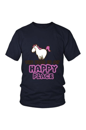 The Barn Is My Happy Place - Tops-Tops-teelaunch-Unisex Tee-Navy-S-Three Wild Horses