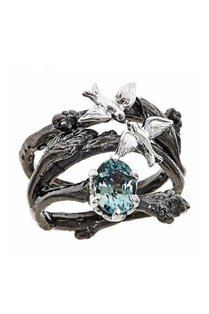 Dark Slate Gray Vintage Black Color Branch with Birds Blue Cubic Zirconia Fashion Ring