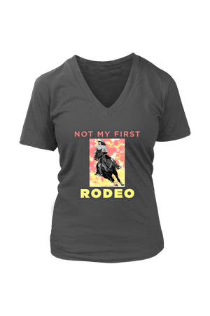 Not My First Rodeo Horse Shirt-T-shirt-teelaunch-Womens V-Neck-Charcoal-S-Three Wild Horses