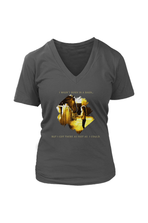 I Was Not Born In The Barn Tops-T-shirt-teelaunch-Womens V-Neck-Charcoal-S-Three Wild Horses