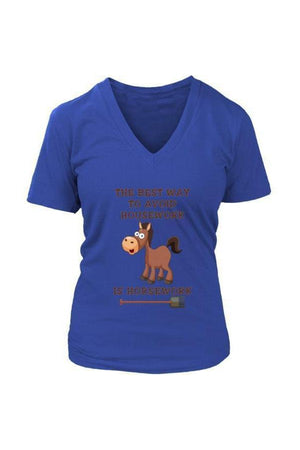 The Best Way To Avoid Housework - Tops-Tops-teelaunch-Womens V-Neck-Blue-S-Three Wild Horses