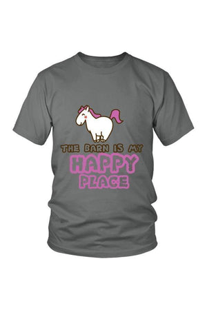 The Barn Is My Happy Place - Tops-Tops-teelaunch-Unisex Tee-Grey-S-Three Wild Horses