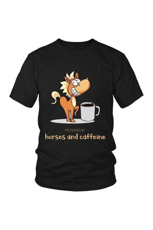 Horses and Caffeine - Tops-Tops-teelaunch-Unisex Tee-Black-S-Three Wild Horses