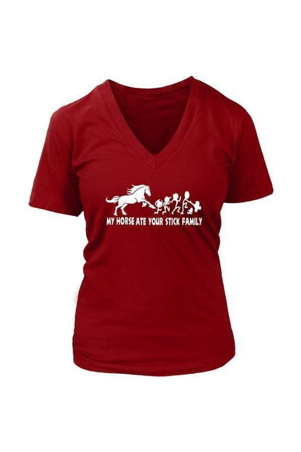 My Horse Ate Your Stick Family - Tops-Tops-teelaunch-Womens V-Neck-Red-S-Three Wild Horses