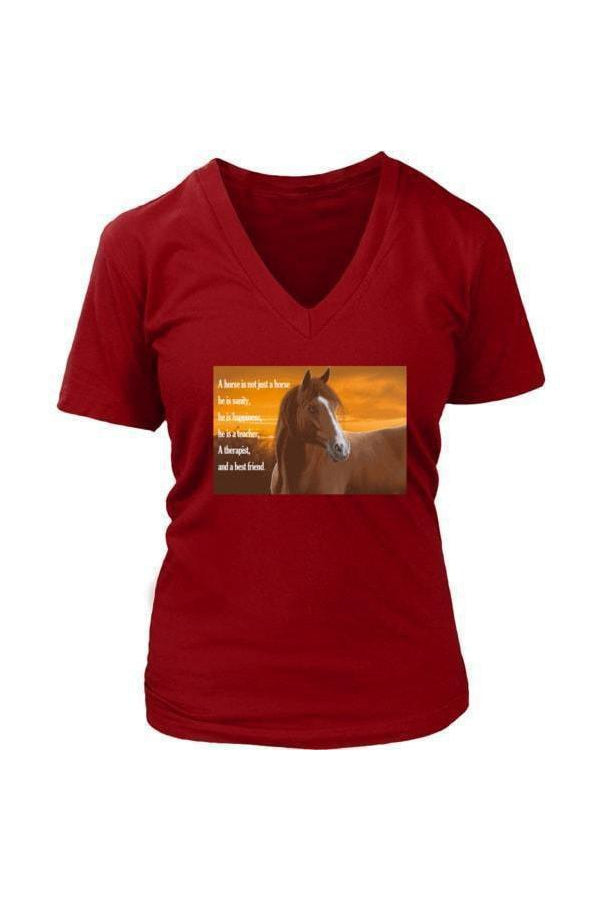 My Horse, My Friend - Tops-Tops-teelaunch-Womens V-Neck-Red-S-Three Wild Horses